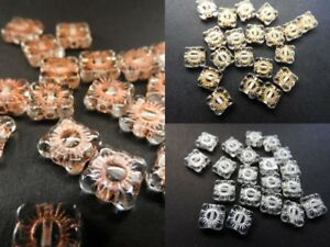 Czech-pressed-vintage-look-glass-flat-square-flower-beads-9-mm-pack-of-20