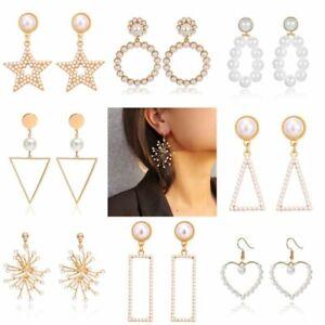 Fashion-Women-Geometric-Pearl-Heart-Stud-Earrings-Dangle-Wedding-Party-Jewellery