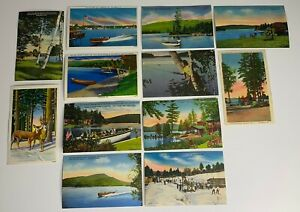 Vintage-Postcard-Lot-Of-12-1940-s-Adriondack-Mountains-New-york