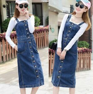 2a54d2fab4 Image is loading Womens-Long-Denim-Dungaree-Overall-Dress-Ladies-Jean-