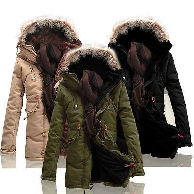 New Fashion Mens Winter Warm Trench Coats Parka Windbreaker Hoodie Jackets