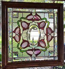 TIFFANY STYLE STAINED GLASS WINDOW ART PANEL VICTORIAN WOOD FRAME SUNCATCHER