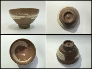 Japanese-Pottery-Tea-Ceremony-Bowl-Chawan-Vintage-Signed-Hakeme-Brown-Z041