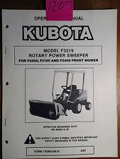 Kubota F3219 Rotary Power Sweeper F2000 F2100 F2400 Mower Operator Parts Manual