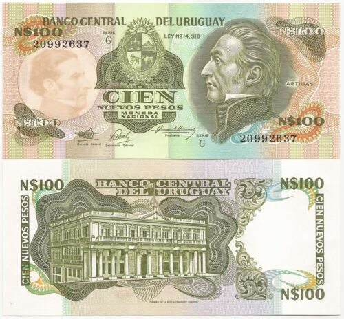 1987 PRINTER THOMAS DE LA RUE URUGUAY N$ 100.00 ND P-62A UNC CAT PR $ 2.