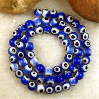 Nice Blue Lampwork Evil Eye Glass Round 6mm Loose Beads