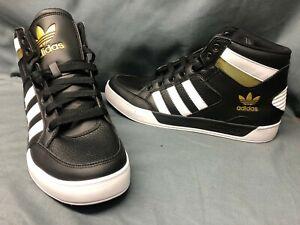Adidas Men's Hard Court Hi Casual Sneakers Retro Black White Gold Size 13 NWOB!