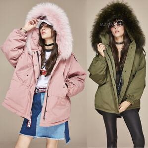 New-Women-039-s-Raccoon-Fur-Collar-Hooded-Down-Coat-Outwear-Parka-Winter-Jacket-Tops