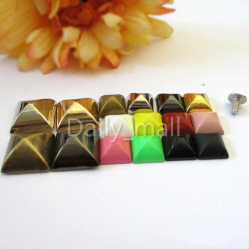 Colorful Metal Square Yurt Screwback Rivets Studs Clothing Bag Shoes Craft Decor