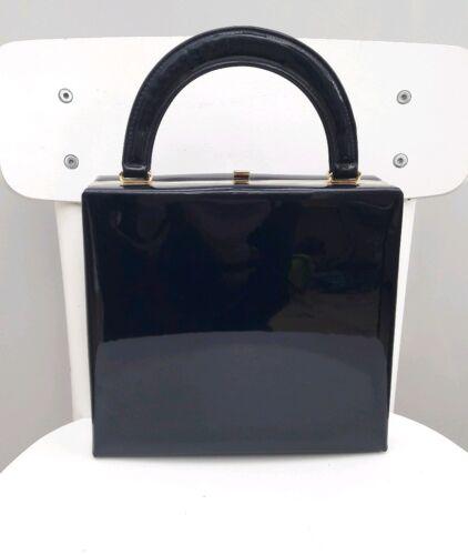 Vintage amp;s Leather Handbag Style M Purse Box Navy Case Kelly Tote Patent nNX80OkwP