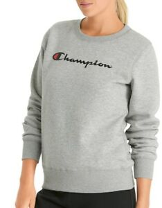 Details about NEW WOMENS CHAMPION SCRIPT CREW FLEECE SWEAT TOP PULLOVER CWFYN OXFORD HEATHER