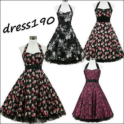 dress190 SCHWARZ BLUMEN NECKHOLDER 50er ROCKABILLY VINTAGE PARTY KLEID EUR 36-54