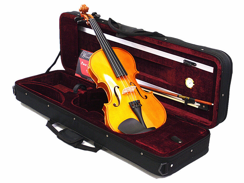 Student Beginner Model 4 4 Solid Wood Violin +Bow +Square Case+Rosin +String set