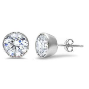 Unisex-3-Colors-Round-Brilliant-Cut-Bezel-Cz-925-Sterling-Silver-stud-earrings