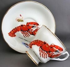 LIVERPOOL ROAD POTTERY TEACUP & SAUCER-ATLANTIC CANADA'S LOBSTER   K 411