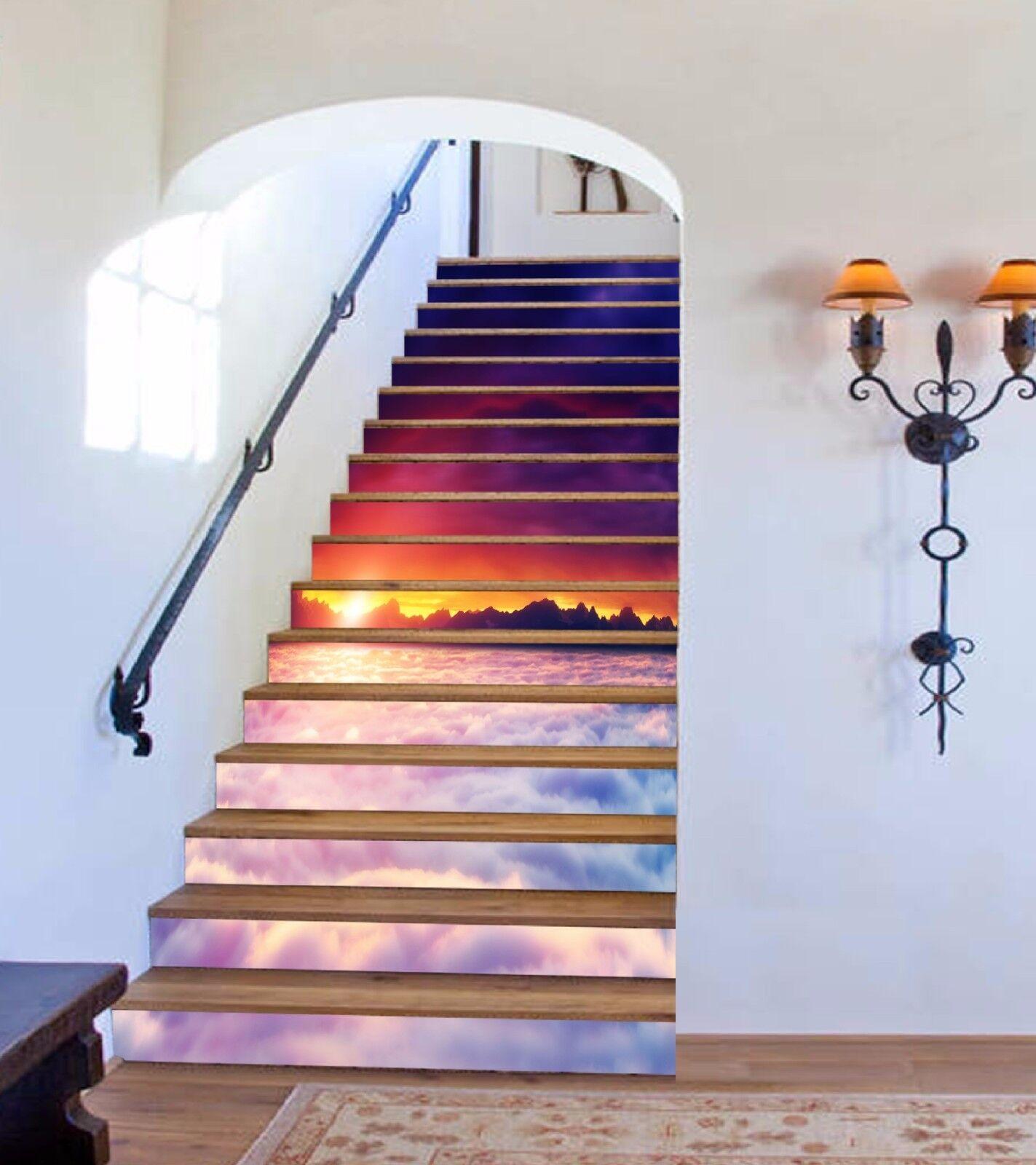 3D Dusk Cloud 7144 Stair Risers Decoration Photo Mural Vinyl Decal Wallpaper AU