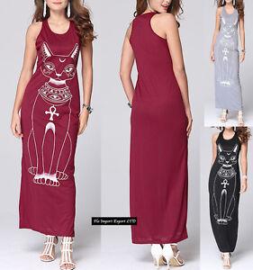 Caricamento dell immagine in corso Vestito-Lungo-Donna-Stampa-Gatto-Maxi- Dress-Woman- f43525696db