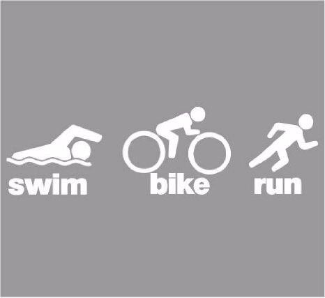"Swim Bike Run Decal symbol Sticker decal 2/"" x 7/"" Triathlon"