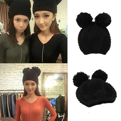 Fashion Cute Women Girls Winter Warm Mickey ears Knitted Beanie Ski Hat Cosplay