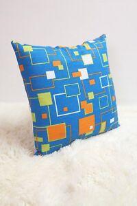 Retro-Fabric-Cushion-Cover-80s-16x16-034-Blue-Green-Geometric-Orange