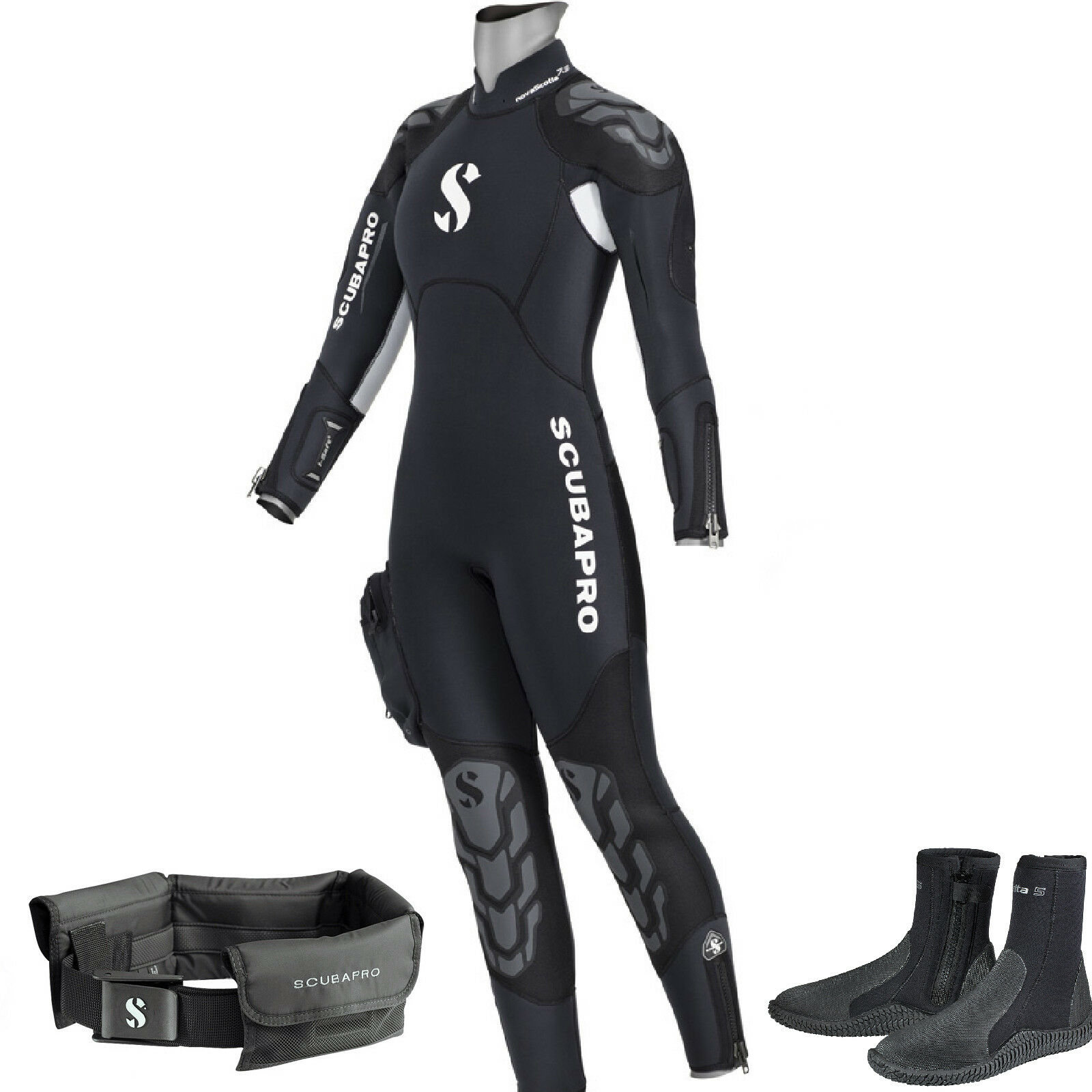 LO3 25 SEMYDRY SUIT SCUBAPRO NOVASCOTIA LADYmm7,5 AND HOOD size S+BOOT+BELT