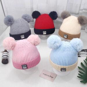 Newborn Infant Baby Boys Girls Warm Knit Crochet Letter Hat Pompon Beanie Cap