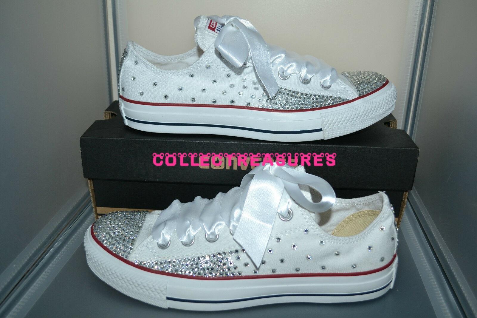 Custom Crystal Diamante Bling Taglia WEDDING N Bianco Converse Taglia Bling 2dd1c8