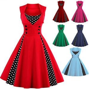 Women-039-s-Vintage-1950s-60s-Rockabilly-Pinup-Housewife-Evening-Party-Swing-Dress
