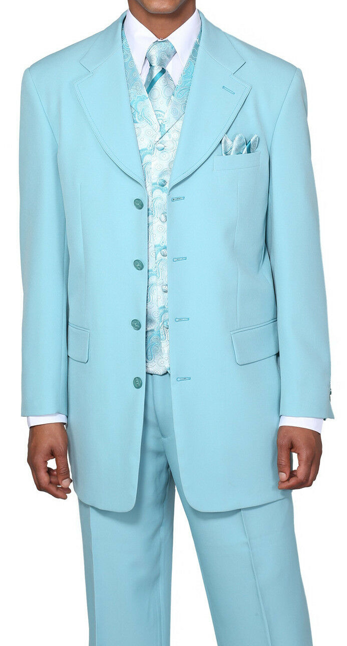 New  Herren' 4 Button Fashion Suit (+pants) With Vest+Tie+Hanky Aqua Farbe  6903