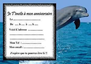 Carte Anniversaire Dauphin.5 Cartes Invitation Anniversaire Dauphin 01 D Autres Articles En