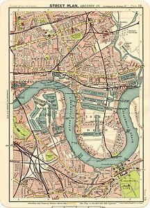 Map Of London 1900.Reproduction Bartholemews 1900 Map Of East London Isle Of Dogs A1