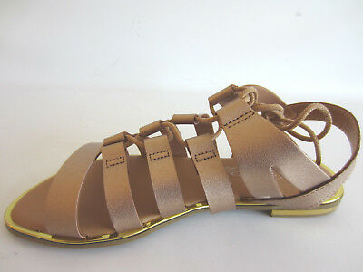 Spot On F0R939 Ladies Gladiator Style Rose Gold Sandals R1B