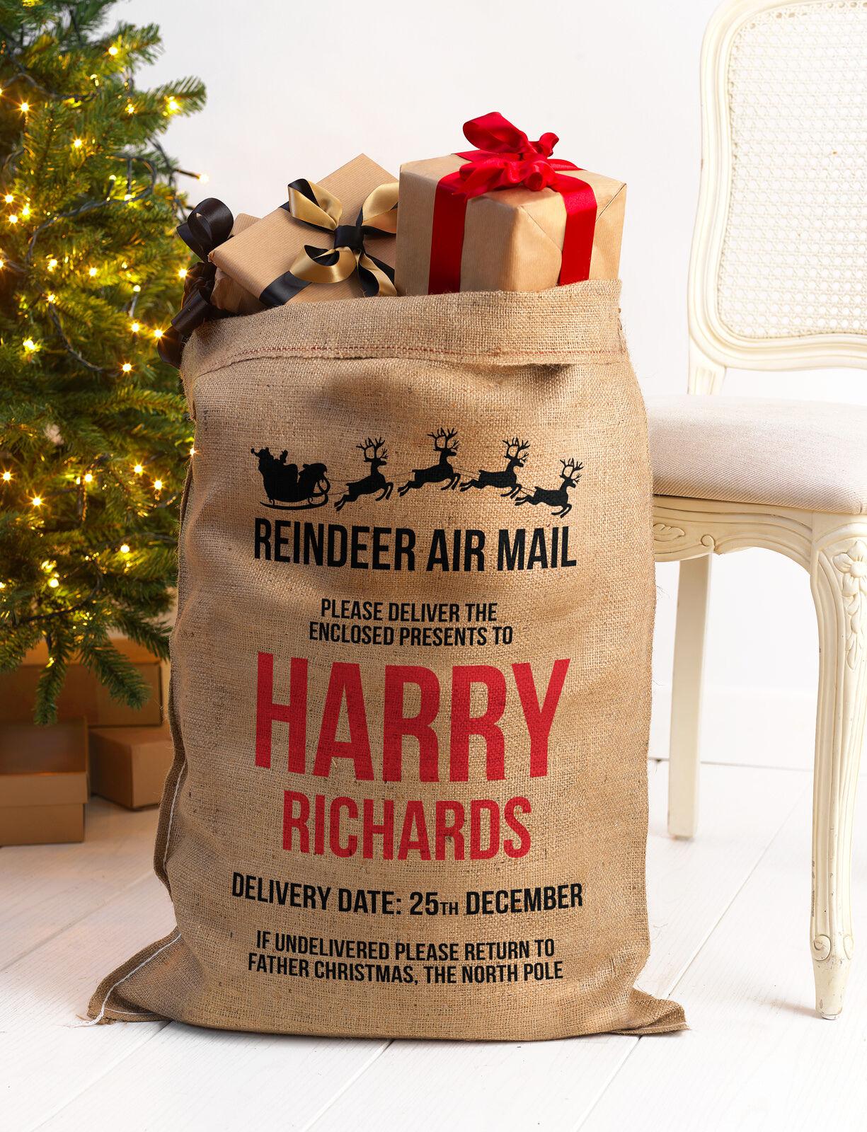 PERSONALISED CHRISTMAS SANTA SACK TRADITIONAL STOCKING EXTRA LARGE BAG STOCKING