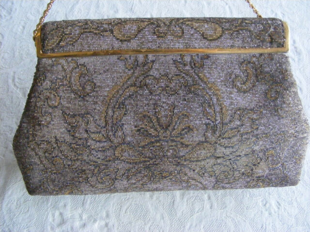 Antique Art Deco Micro Beaded Purse Hand Made in France by Josef STERLING ??