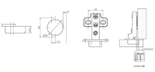 95⁰ Mittelanschlag Topfband Topfbänder Möbelscharniere H0 Topfscharnier 26mm