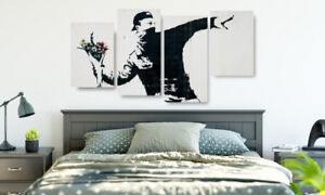Extra-Large-Banksy-Canvas-Prints-Flower-Thrower-4-Panel-Framed-Ready-to-Hang