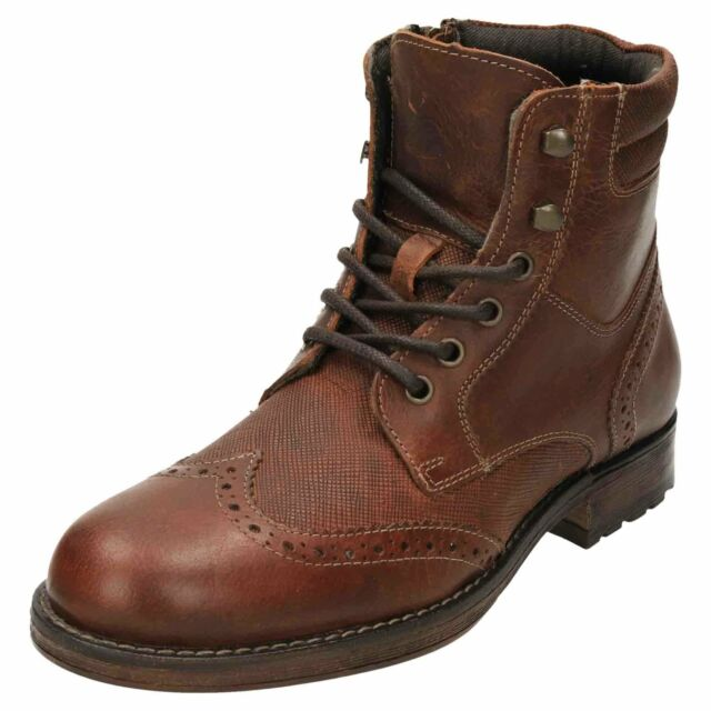 acdf3ecb3cf Red Tape Lace Up Leather Brogue Ankle Boots Mens Worker Zip Wood Brown  Formal
