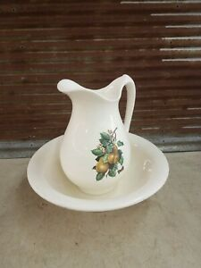 Vintage Ceramic Water Pitcher And Basin