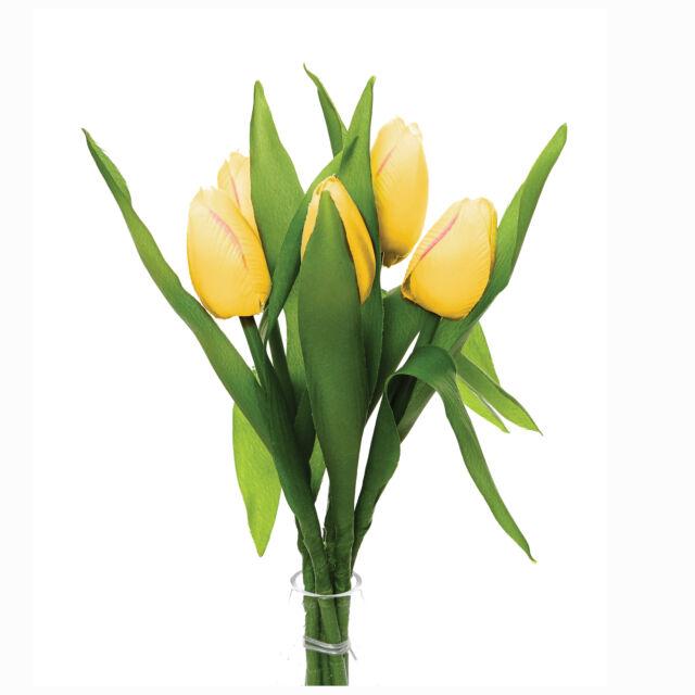 Artificial Yellow Silk Tulips 6 x 35cm/14 Inch Stems