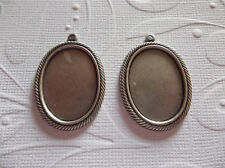 25X18mm Settings - Antiqued Silver - Rope Edge Bezels - For Cameos or Cabochons