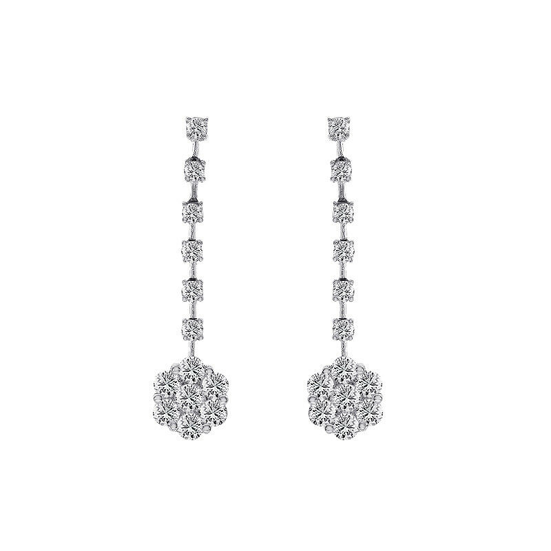 40902dbe5 1.80 Carat Diamond Cluster Dangle 14K White gold Earrings Round nwnvel9216- Diamond