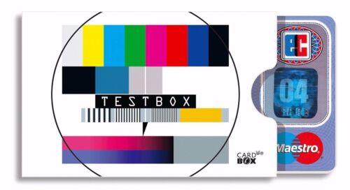 TESTBOX cardbox Testbild TV Television Sendeschluss Bild Störung Kartenhülle