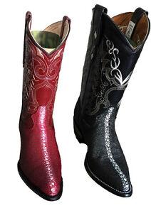 Men 039 s leather stingray design cowboy boots western rodeo biker J