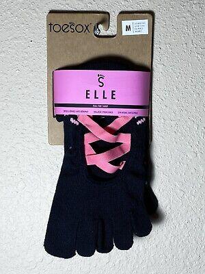 NEW toesox Yoga Pilates Dance Women/'s Socks Non Slip Grip Releve Full Toe Sz M