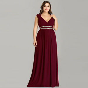 Details about US Plus Size Long Formal Evening Gowns Evening Dresses  Burgundy Party Dresses
