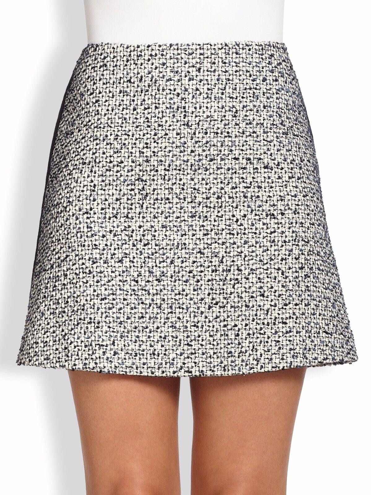 NWT Tory Burch Lucille Textured Metallic Tweed Skirt Navy  – Size 14