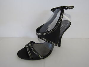 LADIES-SPOT-ON-BLACK-SATIN-SANDAL-WITH-SILVER-STUD-DETAIL-amp-BOW-ON-BACK-F1725