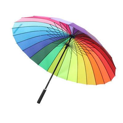 Rainbow Manual Stick Business Langer Griff Sun Rain Große Sonnenschirme