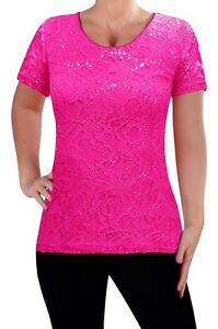 Womens-Floral-Lace-Short-Sleeve-Scoop-Neck-Ladies-Blouse-Skinny-Fit-Tunic-Top