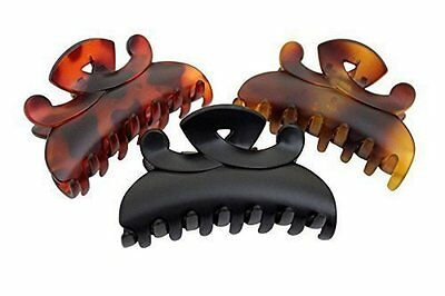 Set of 4 Black Hair Claw Clip and Brown Butterfly Bull Dog Design Hair Claw Clip